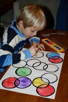 DIY Kids Craft - Paint With A Styrofoam Cup. LOVE teaches kids what color, two combined colors can make.