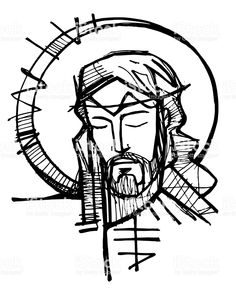 Hand drawn illustration or drawing of Jesus Christ Face at his Passion Croix Christ, Jesus Drawings, Jagua Henna, Scratchboard Art, Jesus Art, Jesus Christ Drawing, Jesus Tattoo, Jesus Painting, Bible Illustrations