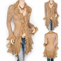Trendy Brown Ruffled Floral Applique Tiered Hem Cardigan Long Sweater Jacket
