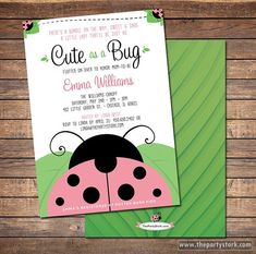 Ladybug Baby Shower Invitations, Printable Cute as a Bug theme baby shower invite, baby girl, pink, DIY decorations and games available
