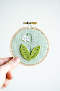 Embroidered Snowdrop Embroidery Hoop Art by ShopHedgerowRose, $19.00