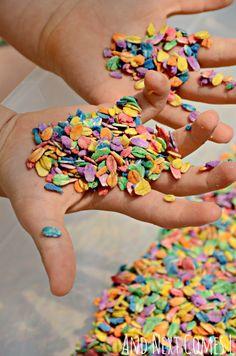 Rainbow Oats {How to Dye Oats for Sensory Play} Sensory play for kids using rainbow dyed oats from And Next Comes L Sensory Tubs, Sensory Boxes, Baby Sensory, Sensory Activities, Infant Activities, Sensory Play, Activities For Kids, Crafts For Kids, Sensory Garden