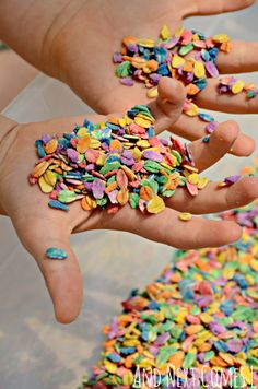 Sensory play for kids using rainbow dyed oats from And Next Comes L