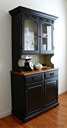 Side view of farmhouse china hutch