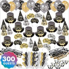 Kit For 300 - Black Tie Affair New Years Party Kit Party City