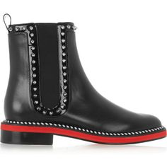 Christian Louboutin Notting Hill 25 studded leather Chelsea boots ($1,295) ❤ liked on Polyvore featuring shoes, boots, ankle booties, black, silver boots, black chelsea boots, studded booties, chelsea bootie and studded leather boots
