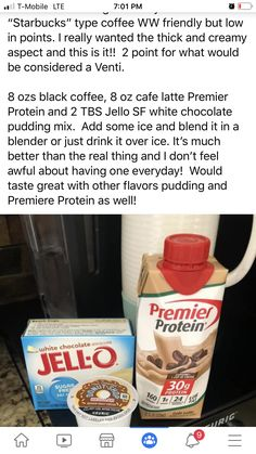 Weight Watchers Meal Plans, Weight Watchers Diet, Weight Watchers Desserts, Weightwatchers Recipes, Bariatric Recipes, Protein Shake Recipes, Smoothie Recipes, Smoothies, Yummy Drinks