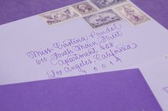 Oh So Beautiful Paper: Jessica + Scott's Purple Ombre Letterpress Wedding Invitations