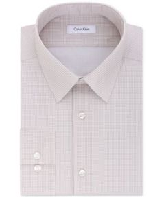 Calvin Klein Men's STEEL Slim-Fit Non-Iron Performance Tan Print Dress Shirt