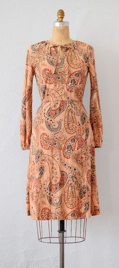 VINTAGE 1970S DARK PEACH PAISLEY PRINT DRESS // Study in Paisley Dress by Adored Vintage #1970s #70s #boho
