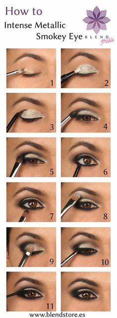 how to Metallic smokey eyes step by step