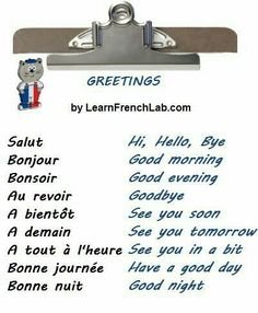 Learn English 352125264604842036 - Learn French Greetings with Audio in 3 easy steps + Greetings Video Song Source by French Basics, French For Beginners, French Class, Spanish Class, French Expressions, French Language Lessons, French Language Learning, French Lessons, German Language