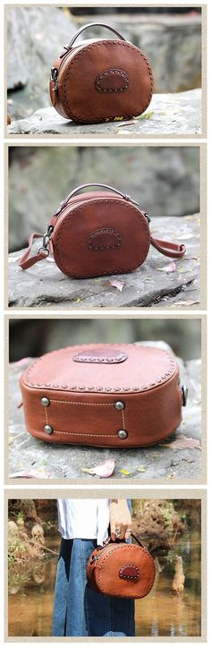 Handmade Vintage Brown/ Green Small Leather Satchel Women's Fashion Handbags Leather Messenger Bag Cross Body Bag Shoulder Bag AK22 Overview: Design: Vintage Vegetable Tanned Leather Handbags In Stock