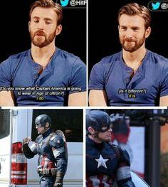 Chris Evans and the new Captain America's uniform