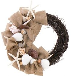 Take a look at this Natural Burlap Beach Wreath by Floral Treasure on today! Do it yourself CHEAPER! Coastal Wreath, Nautical Wreath, Seashell Wreath, Floral Wreath, Coastal Decor, Coastal Style, Burlap Crafts, Wreath Crafts, Diy Crafts