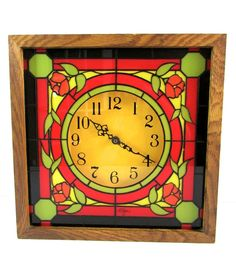 Vintage Elgin Square Wood Stained Glass Style Wall Clock Red Roses #Elgin #vintage #roses #wall #clock
