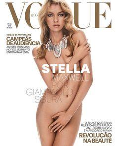 E eis a segunda capa da edição de maio da Vogue Brasil mês em que comemoramos o aniversário de 42 anos da revista... e ela é de parar o trânsito! Outra Angel @stellamaxwell está totalmente nua usando apenas um colar deslumbrante da Giorgio @armani. Fotografada em Nova York pelo italiano @giampaolosgura a edição de moda é de @pedrosales_1 com maquiagem de @fulviafarolfi e cabelo de @francogobbi1. Mas não pense que acabou! Ainda temos uma terceira capa que comemora a nova idade da publicação e…