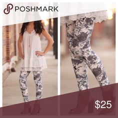 Infinity Raine gray floral print leggings-NWT! Infinity Raine gray floral leggings-NWT! These are 92% polyester/ 8% spandex. Please like this listing to be notified when they are available! Infinity Raine Pants Leggings