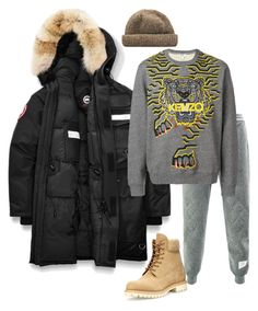 """""""Lazy Boy"""" by molauren on Polyvore featuring Timberland, Canada Goose, Thom Browne, Kenzo, men's fashion and menswear"""