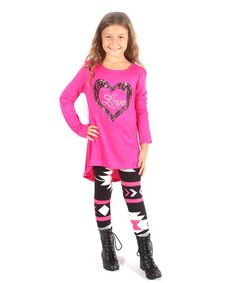 Look what I found on #zulily! Fuchsia Lace Heart Top & Geometric Leggings #zulilyfinds