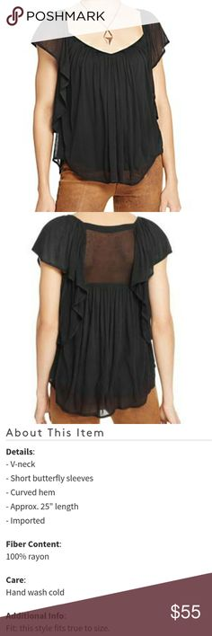 NWT Free People black top Brand new with tags black butterfly top Free People Tops
