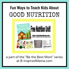 One moms quest to be the best mom in 2013 with specific goals and a free nutrition unit to teach her kids about good nutrition. B-Inspired Mama. Nutrition Education, Kids Nutrition, Nutrition Tips, Health And Nutrition, Nutrition Activities, Nutrition Plans, Health Class, Kids Health, Mom Series