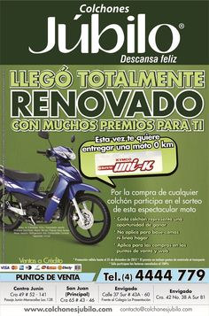 Ganate una moto UNI-K con COLCHONES JUBILO Motorcycle, Vehicles, Shopping, Mattresses, Prize Draw, Motorcycles, Car, Motorbikes, Choppers