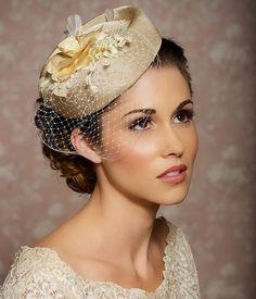 Casco de champán crema marfil sombrero de novia novia