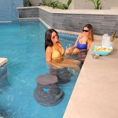 "Liquidseat's patented removable pool seat is a great way to get that ""swim up bar feel"" right in your own backyard. Just throw it in the pool and the Liquidseat sinks to the bottom and is ready to use"