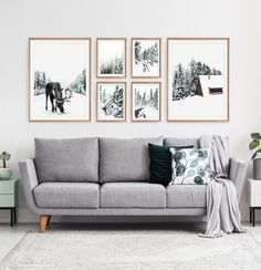 Nordic Christmas Wall Art Set of 6 Prints with Moose in the Forest, Cabins and Reindeer Snowy Scene Digital Photo Picture Wall Living Room, Living Room Pictures, Living Room Gallery Wall, Living Room Wall Art, Wall Decor With Pictures, Gallery Wall Layout, Gallery Wall Art, Nordic Living Room, Living Room Prints