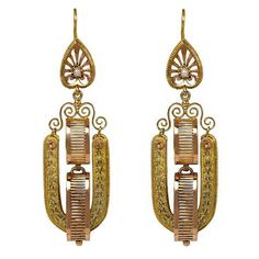 French Antique Two-Color Gold Earrings |circa 1880 http://www.1stdibs.com/jewelry/earrings/dangle-earrings/