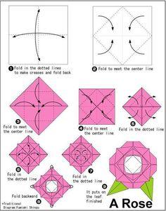 New Ideas Origami Easy Flower Paper Roses Tutorial Lotus Origami, Instruções Origami, Easy Origami Flower, Origami Paper Folding, Origami Dragon, Origami Fish, Useful Origami, Origami Design, Paper Roses Tutorial