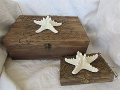 Rustic Stained Aged Wedding Card Ring Box Set Nautical Starfish Net Driftwood in Home & Garden, Wedding Supplies, Ring Pillows & Flower Baskets | eBay