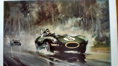 Large Limited Edition Jaguar D Type Le Mans Print Mike Hawthorn Vintage Art Prints, Fine Art Prints, 24 Hours Le Mans, Automotive Art, Jaguar, Racing, Type, Artist, Poster