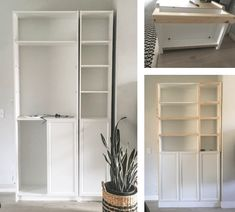 Simple DIY Built Ins using Ikea's Billy Bookcases - create a custom look for your home using stock bookcases, cabinets, and a few supplies! Billy Bookcase With Doors, Bookshelves Built In, Built Ins, Billy Bookcase Doors, Bookshelf Design, Hemnes Bookcase, Ikea Billy Bookcase Hack, Hemnes Bed, Alcove Storage