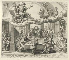 Harmen Jansz Muller | De planeet Mercurius en zijn kinderen, Harmen Jansz Muller, Joannes Galle, 1566 - 1570 | Mercurius rijdt in zijn wagen aan de hemel, getrokken door twee hanen. De tekens van Maagd en Tweeling geven aan welke mensen tot de invloedssfeer van Mercurius behoren. De mensen, die onder dit sterrenbeeld geboren zijn, zijn geleerd en kunstzinnig. Rond een tafel zitten wetenschappers, astrologen, een handelaar en een dokter. Links maken mensen muziek bij een orgel. Rechts zijn…