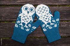 Horatio and Oren -- snowy owl mittens