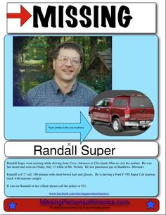 UPDATE: – Randall has been found. The Police reported that someone driving slowly on near Terre Haute, Ind. because they were having vehicle problems noticed the bumper of a ve…