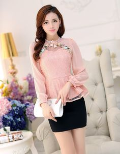 Photo Fashion 2017, Luxury Fashion, Hong Kong Fashion, Shirt Embroidery, Office Outfits, Shirt Blouses, Shirts, Floral Lace, Blouse Designs