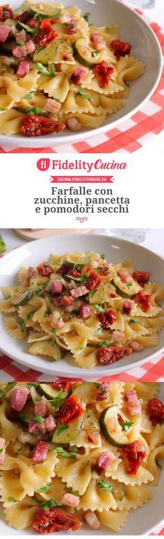 Farfalle con zucchine, pancetta e pomodori secchi