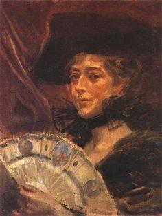 Wojciech Kossak. Portret córki artysty, Marii Pawlikowskiej-Jasnorzewskiej.   1934. Olej na płótnie. 52 x 43 cm.   Własność prywatna.