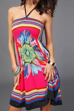 Bohemian Halter Sleeveless Lace-Up Floral Print Women's Dress