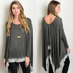 Charcoal & Gray Long Sleeve Flowy Draped Top New with tags. Charcoal with gray trim long sleeve flowy draped back top. Also available in dusty rose color, listed separately. Available in size S, M, and L.                                                              95% rayon, 5% spandex.                                              Made in USA.                                                             PRICE IS FIRM UNLESS BUNDLED.                       ❌SORRY, NO TRADES. Boutique Tops…