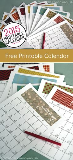 Free 2015 Printable Calendar for 8.5 x 11 sheets || Monthly or Weekly version available