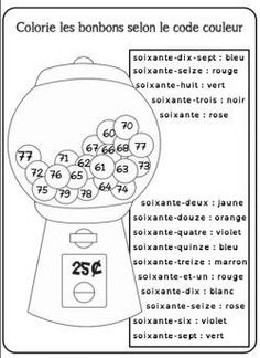 Colorie les bonbons selon le code couleur Good practice for the higher numbers French Teaching Resources, Teaching French, Math Resources, Math Activities, How To Speak French, Learn French, French Numbers, French Practice, French Worksheets