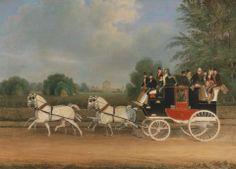 James Pollard, 1792-1867, British, The London-Faringdon Coach passing Buckland House, Berkshire, 1835