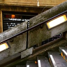 Seeing faces in inanimate objects #brutalism #brutalist #architecture #concrete #handrail #steps #lights #graffiti #streetart #design #hekkta #photography