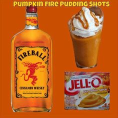 Pumpkin Fire Pudding Shots Ingredients: Sm Pumpkin Spice Instant Pudding ¾ c Whole Milk ¾ c Fireball Whiskey 8oz Cool Whip (Extra Creamy preferred but not required) Directions: Whisk Whole Milk & Instant Pudding together until as thick as it will get (1-2 minutes).  To see full recipe, visit https://www.facebook.com/photo.php?fbid=10203810761523182&set=a.10200815262277573.1073741826.1043986484&type=1&theater #halloween #party #partyideas #cocktails #recipes #drinkrecipes