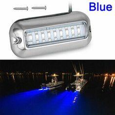 12V 10W STAINLESS SUBMERSIBLE BAIT BLUE UNDERWATER WAKE LED TRANSOM BOAT LIGHT