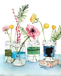 A pink poppy and other flowers fill mason jars. Labels upon the jars include a zig zag pattern, stripes, and a cameo.